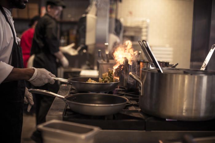 Revolve kitchen cooking pasta